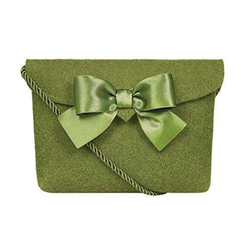 Almbock Trachten-Tasche Lilly in grün moosgrün - Trachtentasche handmade, handgemacht, aus 100{4a541751e6467ad9c135d2dc3bae803217b774bccbc9f645cfce1d1a3cef8943} echtem Wollfilz, Tasche mit Schleife