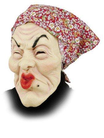Orlob Maske alte Frau mit Kopftuch zum Kostüm Fasching Karneval Halloween