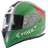 Motorrad VCAN, Wales Flagge Helm Motorrad Full Face Graphic ECE ACU Gold geprüft Sport Touring Welsh Helm & Gitter Sturmhaube, gold, M