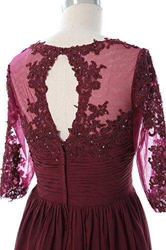 MACloth Women Half Sleeve Mother of Bride Dress Lace Chiffon Formal Evening Gown Zartrosa