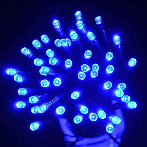 Preisvergleich Produktbild Taschenlampe, ourmall Outdoor Solar Weihnachten Party Lampe Lichterkette 12m MR100LED, blau, 13*2.3*2.8cm