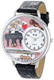 Whimsical Watches Music Teacher Black Skin Leather and Silvertone Unisex Quartz Watch with White Dial Analogue Display and Multicolour Leather Strap U-0510001
