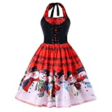 Yvelands Damen Weihnachtskleider, Weihnachten Weihnachtsmusik Anmerkungs Spitze Sleeveless Partei Kleid Swing Kleid(EU-36/M,Rot)
