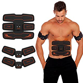 HURRISE EMS Muscle Stimulator, Abs Trainer Stomach Toning Belt Abdomen/Waist /Leg/Arm/Buttock with 6 Modes, USB Rechargeable, Body Fitness Exercise Equipment (men/women) (15 Levels)