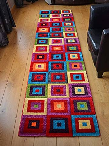 Candy Multicoloured Squares Design Rug. Available in 5 Sizes (67cm