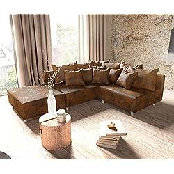DELIFE Couch Clovis modular - Ecksofa, Sofa, Wohnlandschaft & Modulsofa (Braun, Ecksofa Links mit Hocker)