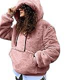 TianWlio Jacken Parka Mäntel Damen Herbst Winter Warme Jacken Langarm Pullover Winter Warm Mit Kapuze Mit Lässig Weiche Warme Sweatshirt Tops Rosa L