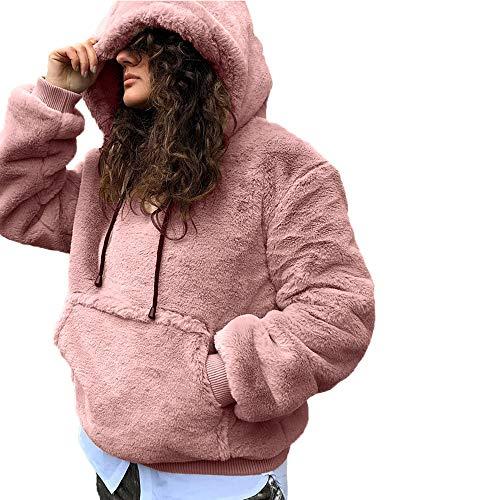 Femme Blouson à Manches Longues Hiver Chaud Manteau Veste Sweat-Shirt À Capuche Mode, QinMM Pull à Manches Longues Femme Hiver Chaud à Capuchon avec Grande Poche Casual Chaud et Doux Tops