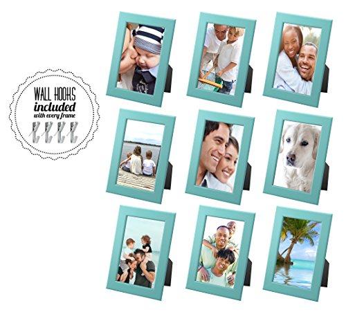 30 Lb-wand (Family Bilderrahmen Collage mit Hardware [A + + + qbg Wandhaken] | Set von 7Bilderrahmen | inkl. drei große Weiß Bilderrahmen für Wand oder Schreibtisch, holz, weiß, Collage of 9 - Blue)