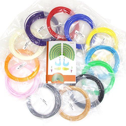 Juboury 120 Laufmeter Filament für 3D Druckstifte. Paket mit 12 1,75mm ABS Filament Schleifen in 12 unterschiedlichen Farben zu je 10 Meter Länge. Inklusive Schablonen Heft mit 120 Schablonen (ABS)