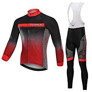 SKYSPER Ciclismo Maillot Hombres Jersey + Pantalones Largos Culote Mangas Largas de Ciclismo Conjunto de Ropa Maillot Entretiempo para Deportes al Aire Libre Ciclo Bicicleta