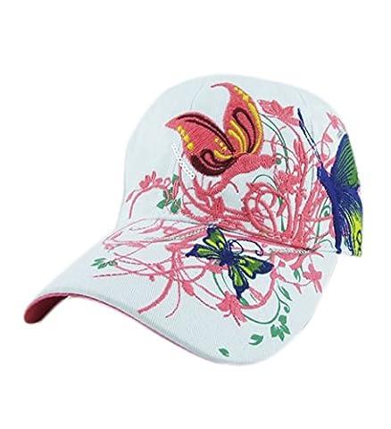 Loveso-Kappen Gestickte Baseballmütze Lady Fashion Shopping Radfahren Ente Zunge Hat Anti Sai Cap (Weiß)