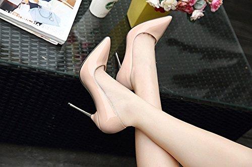 Aisun Damen Sexy Lack Spitz Metallic Stiletto Hocher Absatz Pumps Beige