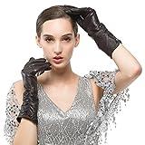 Nappaglo Damen Italienisches Lammfell Leder Handschuhe Winter Warm Langes Fleecefutter Handschuhe (L (Umfang der Handfläche:19.0-20.3cm), Dunkelbraun(Touchscreen))