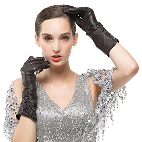 Nappaglo Damen Italienisches Lammfell Leder Handschuhe Winter Warm Langes Fleecefutter Handschuhe (XXL (Umfang der Handfläche:21.6-22.8cm), Dunkelbraun(Touchscreen)) -