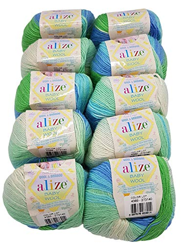10 x 50g Strickwolle Alize Baby Wool mit 20% Bambus und 40% Wolle, 500 Gramm Strickwolle mit Farbverlauf Mehrfarbig (blau grün weiß 4389)