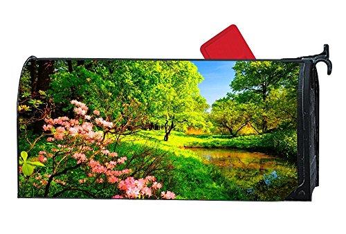 DIY magnetisch Mailbox Cover MailWrap, Alle Wetter Vinyl, Standard Größe-Full Magnet auf Rückseite Spring Water Grass Forest Wildflowers -