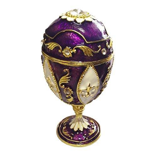 - Circus Halter Musikspieluhr Fabergé-Stil Ei Schmuckkästchen Figur Collectible Andenken Box Ring Schmuck Aufbewahrungsbox Halter Weihnachten Geschenk für Mädchen violett