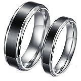 Blisfille Ringe Herren Und Damen Ringe Schwarz Titan Paar Ringe Edelstahl Ehering Schwarz Ring Einfach Hohe Poliert Herrenring Größe 54 (17.2) Damenring Größe 52 (16.6) Hochzeit