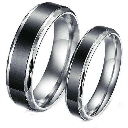 delstahl Ehering Schwarz Ring Einfach Hohe Poliert Herrenring Größe 60 (19.1) Damenring Größe 54 (17.2) Hochzeit (Schwarz Bald Cap)