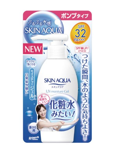 Rohto SKIN AQUA UV Moisture Gel for Body and Face | SPF 32 PA+++ 150g (Japan ...