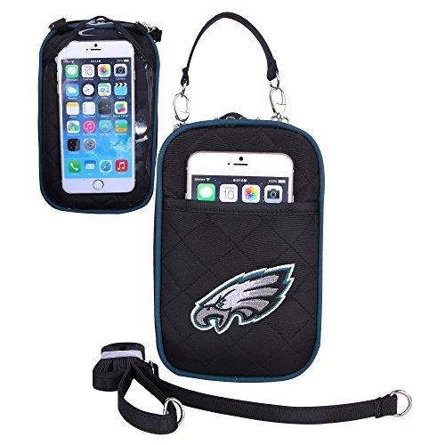 Charm14 Little Earth NFL Damen Umhängetasche, gestepptes Logo, passend für alle Handys, Damen, Philadelphia Eagles -