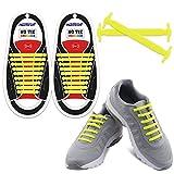 Homer No Tie Shoelaces - Best in Sport & Fitness Schnürsenkel Zubehör - strapazierfähiger Elastische, flache Schnürsenkel mit Multicolor zu wählen Perfekt für Sneaker Stiefel Oxford und Freizeitschuhe - Gelb