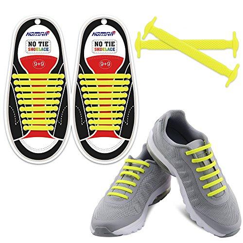 Homer No Tie Shoelaces - Best in Sport & Fitness Schnürsenkel Zubehör - strapazierfähiger Elastische, flache Schnürsenkel mit Multicolor zu wählen Perfekt für Sneaker Stiefel Oxford und Freizeitschuhe - Gelb Gummi Neon