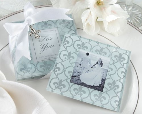 Fleur-de-Lis Frosted-Glass Photo Coasters Set of 2 [SET OF 24] by - Lis Fleur Coaster Set De