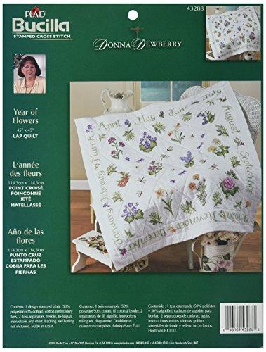 ,3cm Stahl Donna Dewberry Jahr der Blumen Lap Quilt Prägung Kreuzstich 114,3x 114,3cm ()