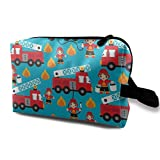 Fire Truck and Hero Boys Car Toiletry Bag Waterproof Fabric Cosmetic Bags Travel Case for Women's Accessories