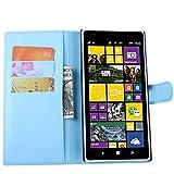 Tasche für Nokia Lumia 1520 Hülle, Ycloud PU Ledertasche Flip Cover Wallet Case Handyhülle mit Stand Function Credit Card Slots Bookstyle Purse Design blau