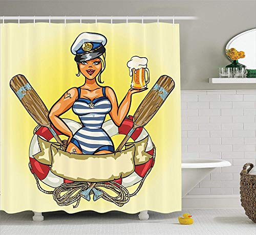 DFSDFSASDF Girly Decor Shower Curtain Set, Pin-up Sexy Sailor Girl in Lifebuoy with Captain Hat and Costume Glass of Beer Feminine Design, Bathroom Accessories, 60