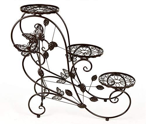 PNYGJKHJ 3-Tiered Metall Pflanzenständer Blumentopf Rack Gartenterrasse Stehende Pflanze Display Stand 29,53 * 26 * 11 Zoll (Color : Bronze) -