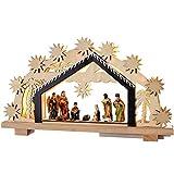 WeRChristmas-Figura Decorativa navideña (24cm Portal de Belén de Madera, con iluminación de 8LED de Color Blanco cálido