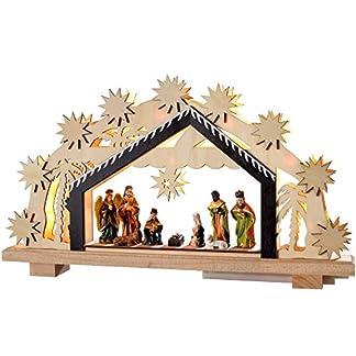 WeRChristmas–Figura Decorativa navideña (24cm Portal de Belén de Madera, con iluminación de 8LED de Color Blanco cálido