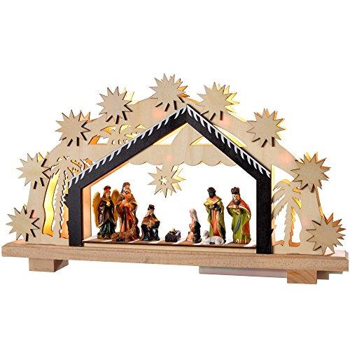 WeRChristmas 24cm–presepe in Legno, Decorazione di Natale Illuminato con 8LED Bianco Caldo