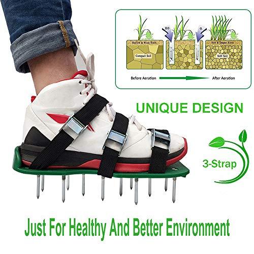 Sinbide Riemen/Rasenbelüfter/Rasenlüfter/Vertikutierer/NagelschuheRasenbelüfter-Schuhe Rasenbelüfter Rasenlüfter Schuhe Vertikutierer Rasen Vertikutierer Rasen Nagelschuhe für Rasen 3 Riemen (Grün) | Garten > Gartengeräte > Vertikutierer | Sinbide
