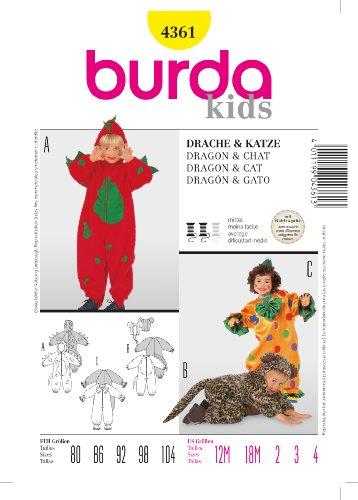 Schnittmuster Katze Kostüm - Burda 4361 Schnittmuster Kostüm Fasching Karneval
