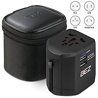 BEZ Worldwide Travel Adapter, the best International Plug [US UK EU AU] with Dual USB Charging Ports [Dual USB Power Rating: 5V/2500mA] & Universal AC Socket, Safety Fused
