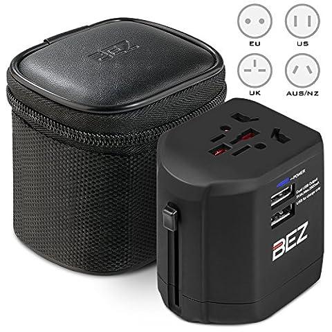Worldwide Travel Adapter, BEZ® the best International Plug [US UK EU AU] with Dual USB Charging Ports [Dual USB Power Rating: 5V/2500mA] & Universal AC Socket, Safety Fused