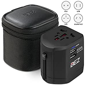 Worldwide Travel Adapter, BEZ® the best International Plug [US UK EU AU] with Dual USB Charging Ports [Dual USB Power Rating: 5V/2500mA] & Universal AC Socket, Safety Fused