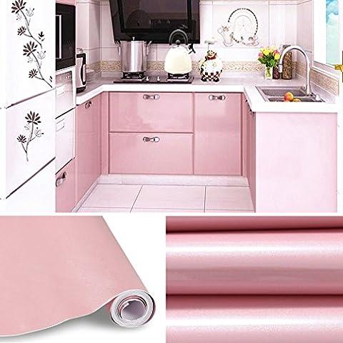 5M Papier Peint Autocollant Rouleau Adhésif Sticker Mural Etanche pour Armoire Cuisine Meuble Electroménager Carreaux Mur Verre Rose