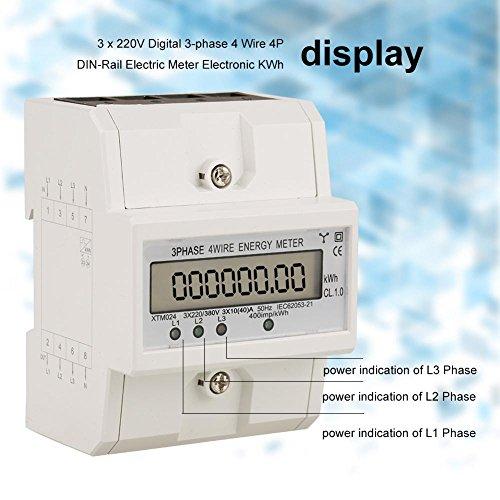 KWh Meter, 1 Stk. 3 x 220V Digitales 3-Phasen 4-Draht 4P DIN-Schienen-Stromzähler Elektronisches KWh-Meter(10 (40) A) -
