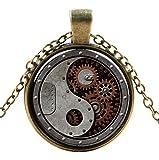 Ultra ® Ying e Yang Motor stile classico unisex Steampunk collana grande stile unisex gotico Cosplay vintage Cyber uomini donne gioielli Cosplay teschi ingranaggi disegni
