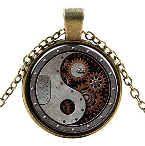 Ultra ® Ying and Yang Motor Style Classic Unisex Steampunk Necklace Great Style Unisex Gothic Cosplay Vintage Cyber Men Women Jewellery Cosplay Skulls Cogs Designs
