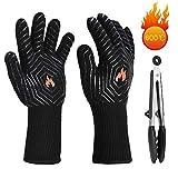 Ymiko Grillhandschuhe Ofenhandschuhe, BBQ Handschuhe Hitzebeständige bis zu 800°C, Rutschfeste Handschuhe Perfekt zum Kochen, Grill & Topfhandschuhe Backhandschuhe für Backen und Schweißen(1 Paar)