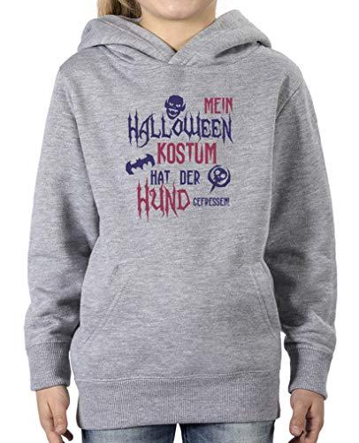 (Comedy Shirts - Mein Halloween Kostuem hat der Hund gefressen - Mädchen Hoodie - Grau/Lila-Fuchsia Gr. 98/104)
