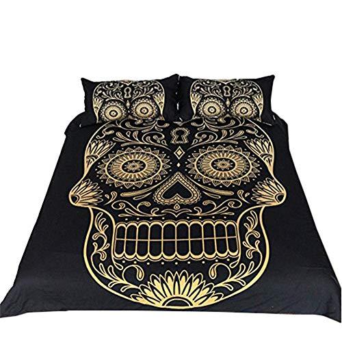ettwäsche-Set, Totenkopf-Design, Verschiedene Halloween-Skelett-Überzüge und Kissenbezüge, Polyester, Goldfarbener Totenschädel, Single size-135x200cm ()