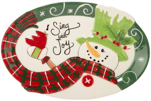 Fitz and Floyd Holly Hat Snowman Sentiment Tray by Fitz and Floyd Floyd Holly